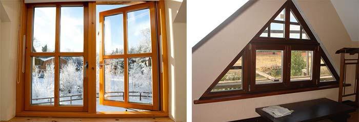 Конструкции разных форм (сосновые окна)